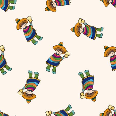 mexican cartoon: Mexican , cartoon seamless pattern background