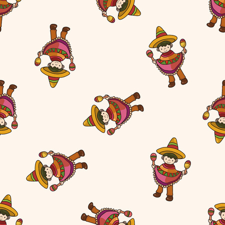 mexican cartoon: Mexican , cartoon seamless pattern background