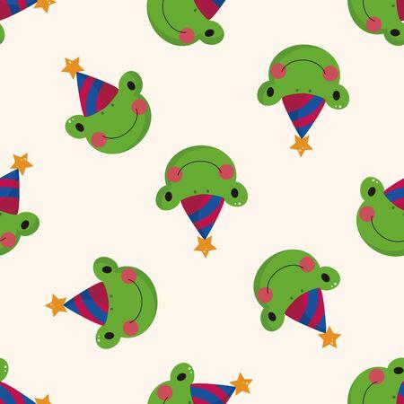 animales del zoo: animales rana de dibujos animados, dibujos animados patrón de fondo sin fisuras