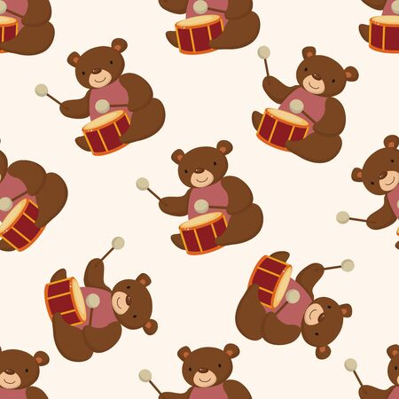 animal bear playing instrument cartoon , cartoon seamless pattern background photo