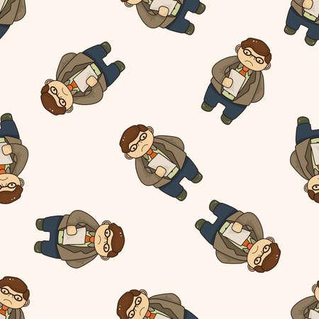 boss cartoon: boss , cartoon seamless pattern background Stock Photo