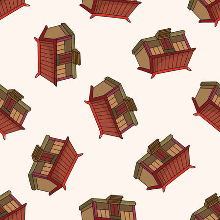cartoon house: Chinese building , cartoon seamless pattern background