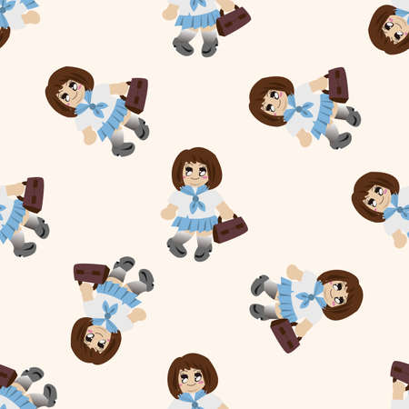 family girl character , cartoon seamless pattern background photo