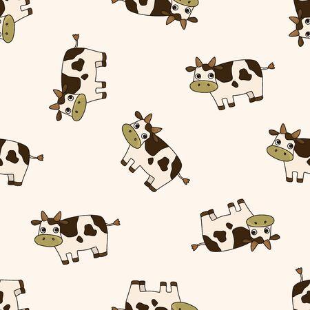 Historieta de la vaca animal, sin fisuras patrón de dibujos animados de fondo Foto de archivo - 40727499