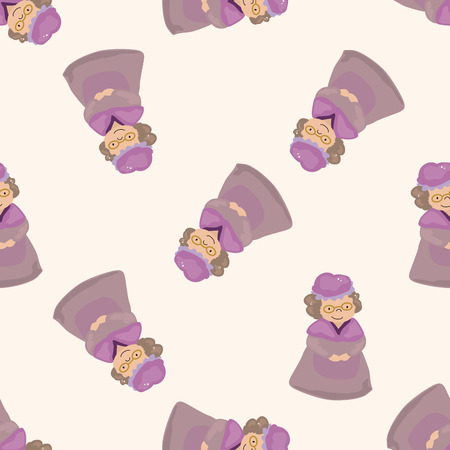 little people: grandmom in little red riding hood , cartoon seamless pattern background Stock Photo