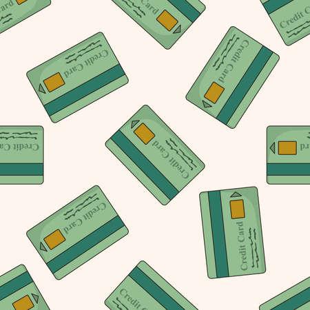 creditcard: credit card , cartoon seamless pattern background Stock Photo