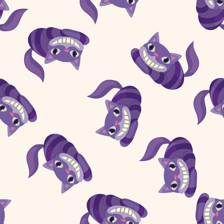 cheshire cat: alice in wonderland , cartoon seamless pattern background Stock Photo