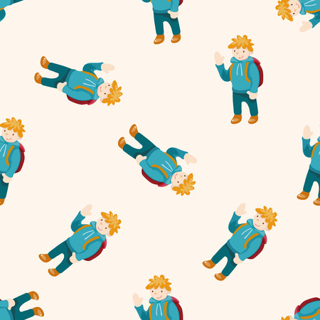 travelling person , cartoon seamless pattern background photo