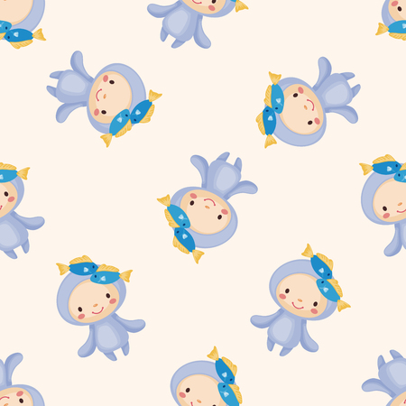 abstract aquarius: Constellation Pisces , cartoon seamless pattern background