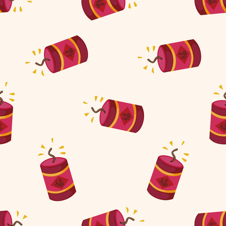firecrackers:  Wish spring comes Chinese firecrackers , cartoon seamless pattern background