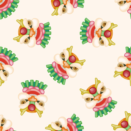 Chinese New Year, the dragon and lion dancing hea, cartoon seamless pattern background Stock Photo