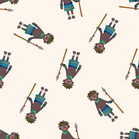 aborigine: Aborigines , cartoon seamless pattern background Stock Photo