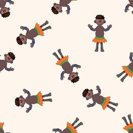 aborigines: Aborigines , cartoon seamless pattern background Stock Photo