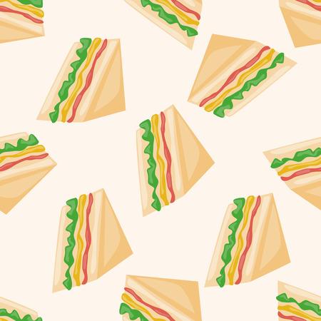 サンドイッチ、漫画のシームレスなパターン背景