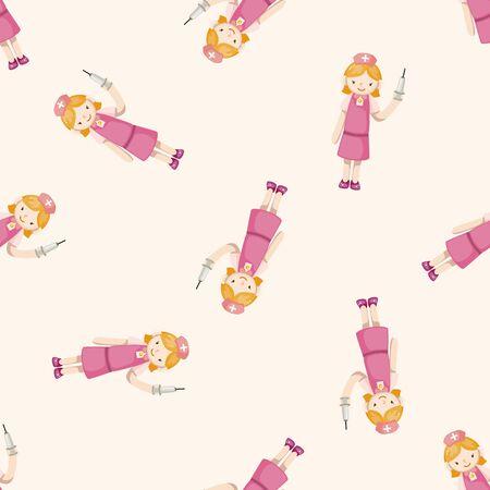 enfermera paciente: enfermera, de dibujos animados patrón de fondo sin fisuras