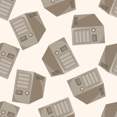 pc case: host computer , cartoon seamless pattern background