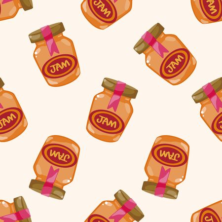 can food: jam , cartoon seamless pattern background