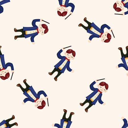 conductor: character musician conductor , cartoon seamless pattern background