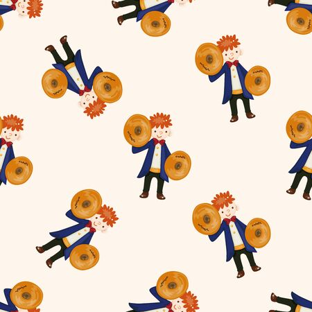 Cymbals: character musician cymbals , cartoon seamless pattern background