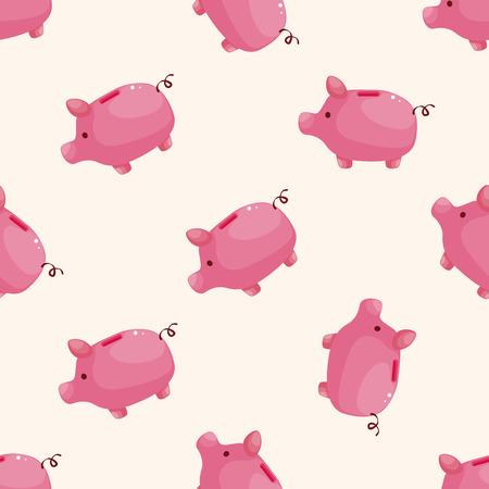 saving bank: piggybank , cartoon seamless pattern background