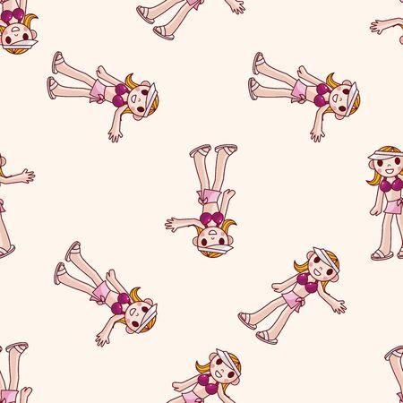 butterfly stroke: swimmer , cartoon seamless pattern background