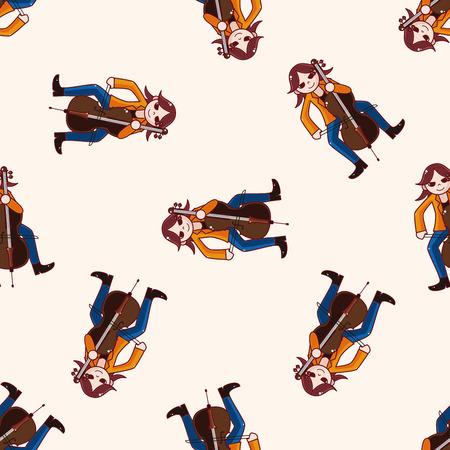 cellist: character musician cellist , cartoon seamless pattern background