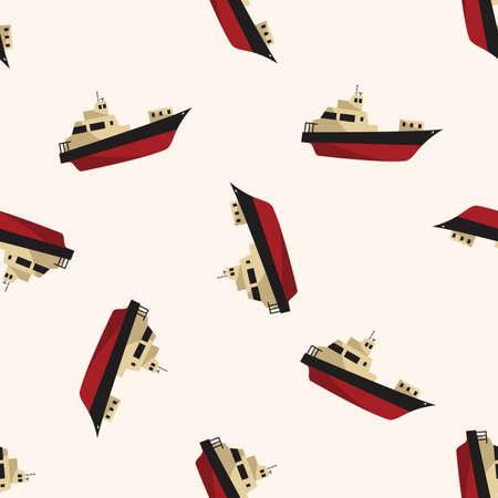 Transportation boat , cartoon seamless pattern background photo