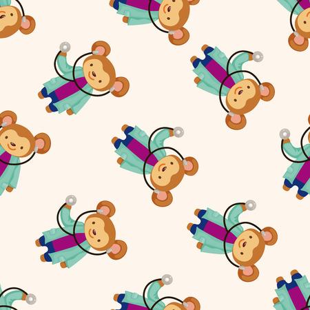 nurse injection: animal monkey doctor cartoon , cartoon seamless pattern background Stock Photo