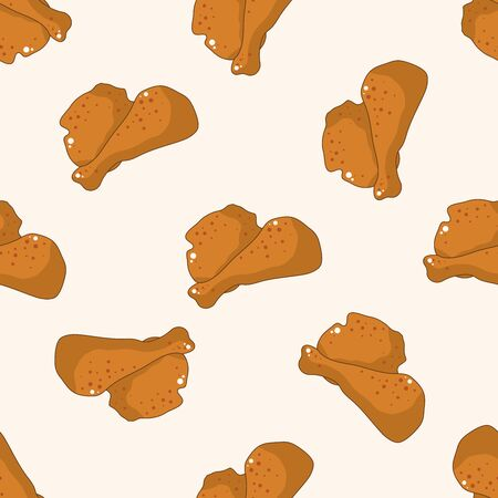 cartoon chicken: Fried foods theme chicken , cartoon seamless pattern background