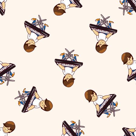 keyboard player: band member keyboard player , cartoon seamless pattern background