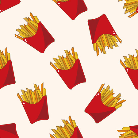 fried foods: Fried foods theme french fries , cartoon seamless pattern background