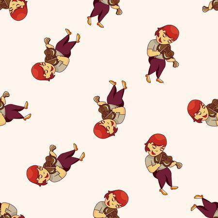 violinista: car�cter m�sico violinista, de dibujos animados patr�n de fondo sin fisuras