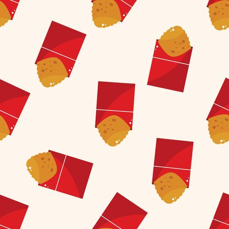 fried foods: Fried foods theme hashbrown , cartoon seamless pattern background Stock Photo