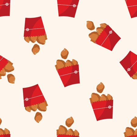 nuggets: Fried foods theme chicken nuggets , cartoon seamless pattern background