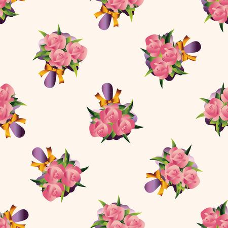flower bouquet: boeket bloemen, cartoon naadloze patroon achtergrond