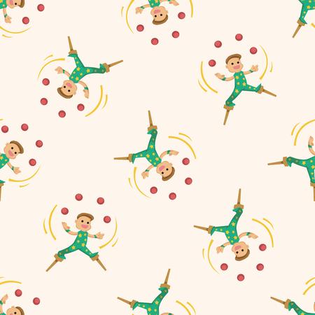 juggler: circus theme juggler , cartoon seamless pattern background