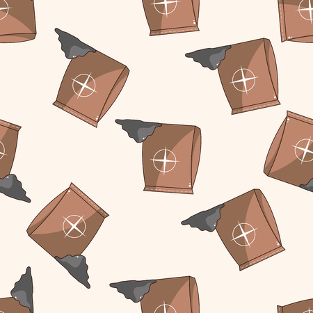 bag cartoon: cement bag , cartoon seamless pattern background