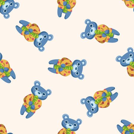 animal bear playing instrument cartoon , cartoon seamless pattern background Vector
