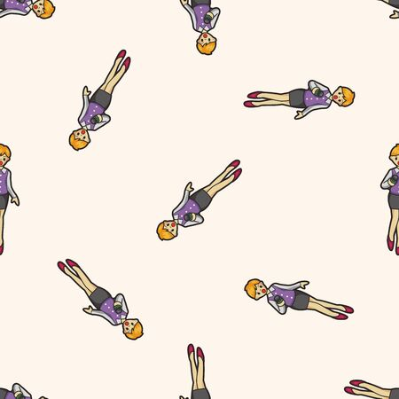 Reporter and photographer , cartoon seamless pattern background Vector