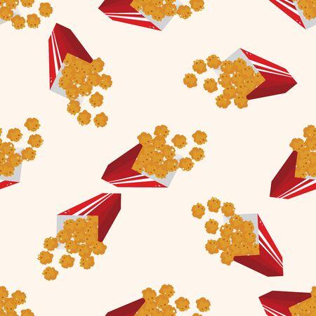 fried foods: Fried foods theme chicken nuggets , cartoon seamless pattern background