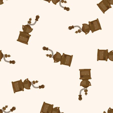 grinding coffee machine , cartoon seamless pattern background
