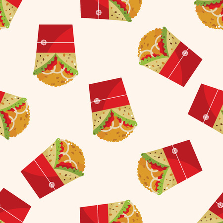 fried foods: Fried foods theme chicken wraps , cartoon seamless pattern background