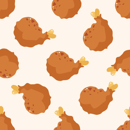 fried foods: Fried foods theme chicken , cartoon seamless pattern background