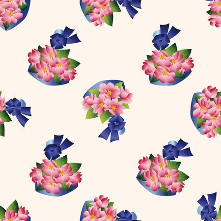 flower bouquet: flower bouquet , cartoon seamless pattern background Stock Illustratie