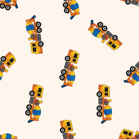 시멘트: Cement mixer trucks , cartoon seamless pattern background