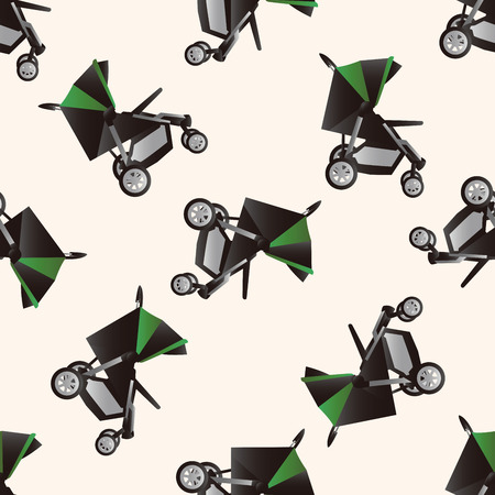 perambulator: Baby carriages , cartoon seamless pattern background Illustration