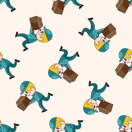 deliveryman: fattorino, cartone animato modello seamless Vettoriali