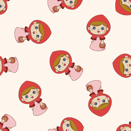 girl in red dress: fairytale princess , cartoon seamless pattern background