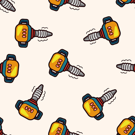 driller: Electric drill , cartoon seamless pattern background