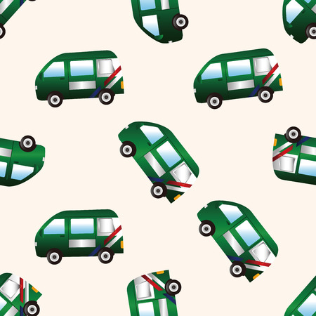 transportation theme Post Office car , cartoon seamless pattern background